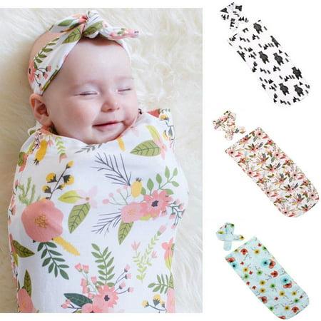 9cbc3b07fbc48 Newborn Boy Girl Swaddle Blanket Baby Sleeping Bag Swaddle Muslin Wrap  +Headband Unisex Toddler Nest - Walmart.com