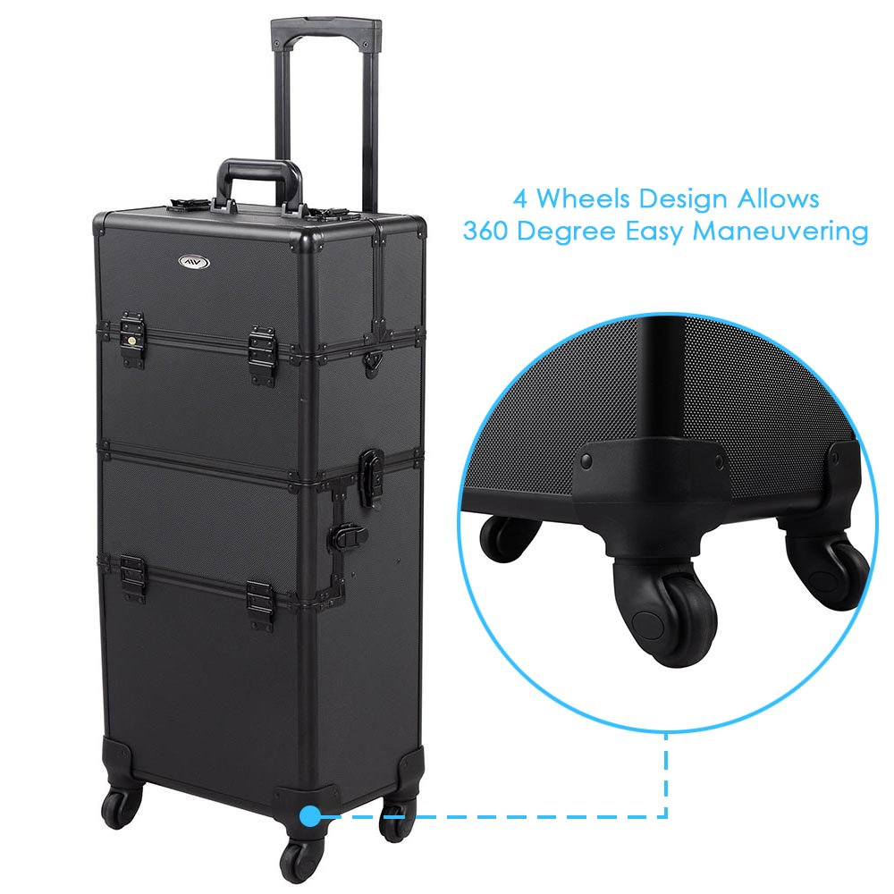 AW 2in1 Pro Rolling Lockable Makeup Cosmetic Train Case 360 Degree 4-Wheels Box