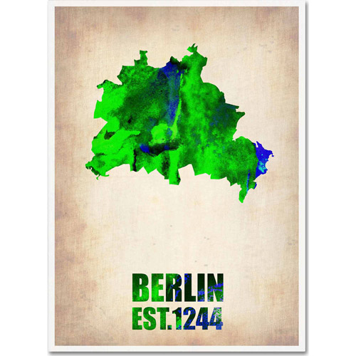 "Trademark Fine Art ""Berlin Watercolor Map"" Canvas Art by Naxart"