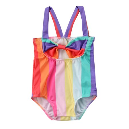 Infant Toddler Baby Girls Sleeveless Rainbow Bowknot One Piece Swimsuit Beachwear