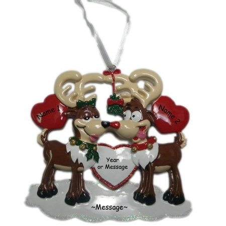 Personalized Deer Couple with Heart Holiday Gift Expertly Handwritten Ornament, FREE PERSONALIZATION By Polar X - Holiday Personalized Gifts