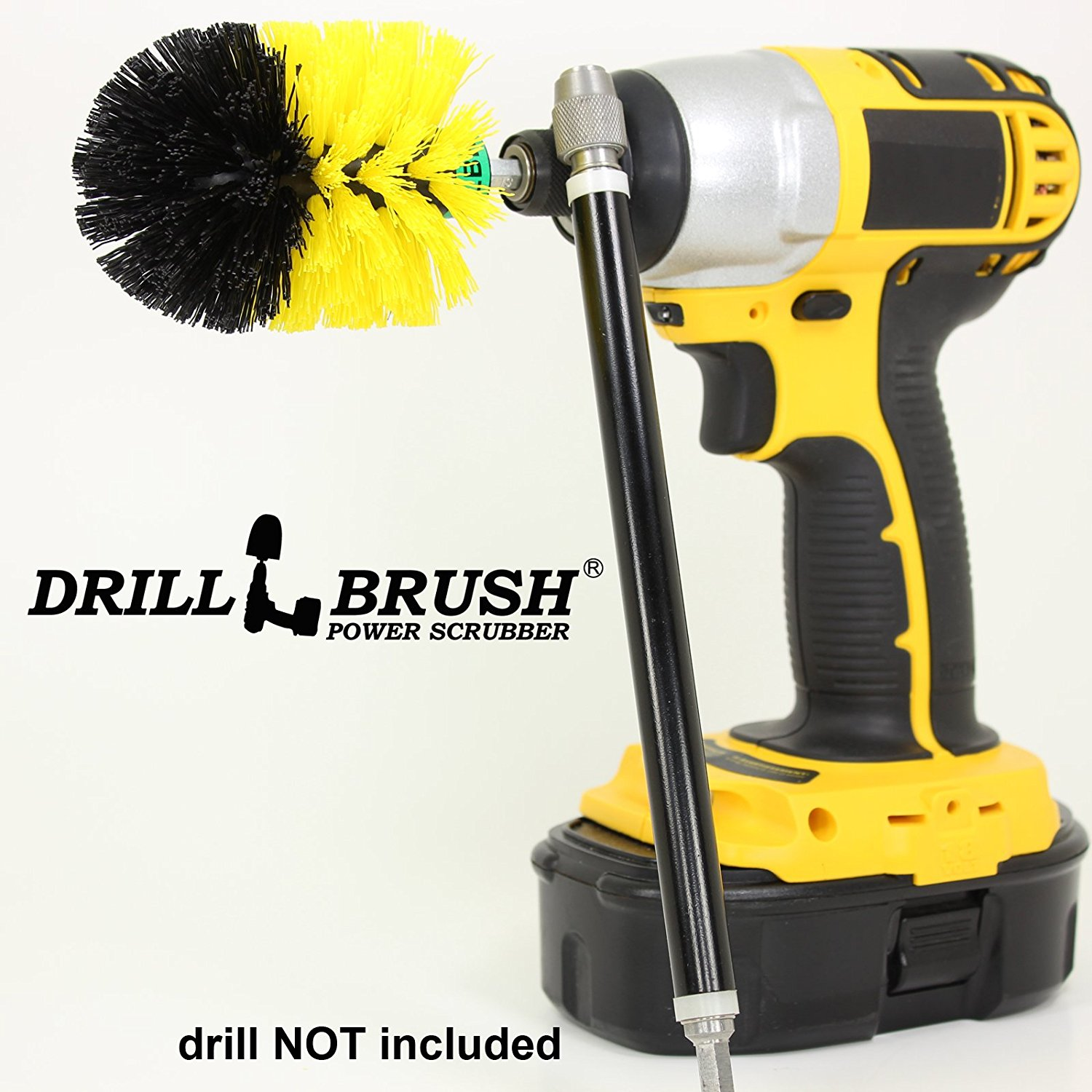 Mini Size Original Drillbrush Tub and Tile Power Scrubber with Extension by Drillbrush