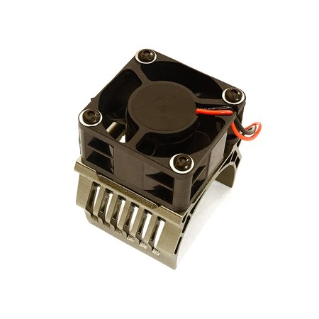 Integy RC Toy Model Hop-ups C28603GREY 42mm Motor Heatsink+40x40mm Cooling Fan 16k rpm for 1/10 Summit & E-Revo