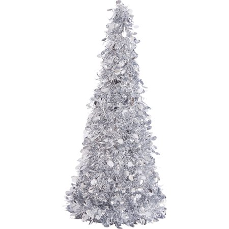 Large Silver Tinsel Christmas Tree Table Centerpiece | Party Decoration ()