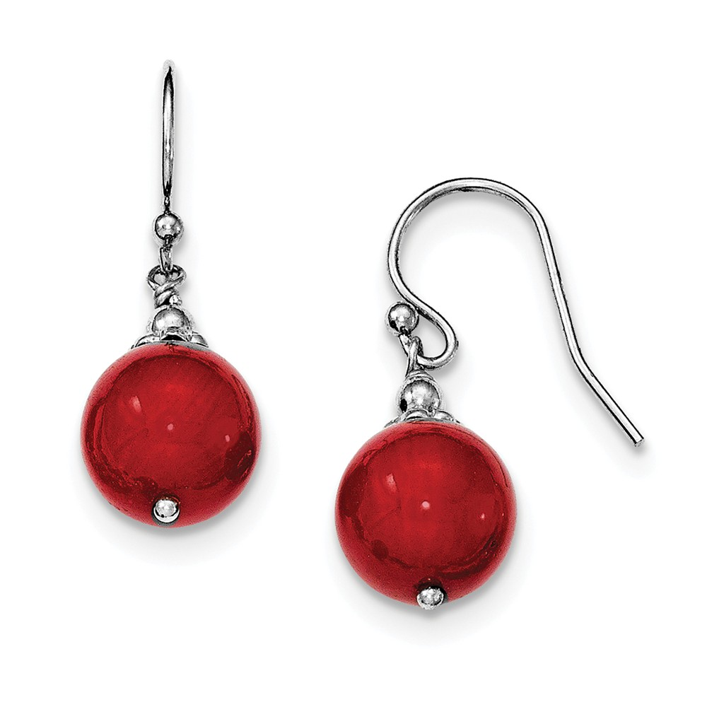 925 Sterling Silver Dyed Red Coral Shepherd Hook Dangle Earrings by Diamond2Deal