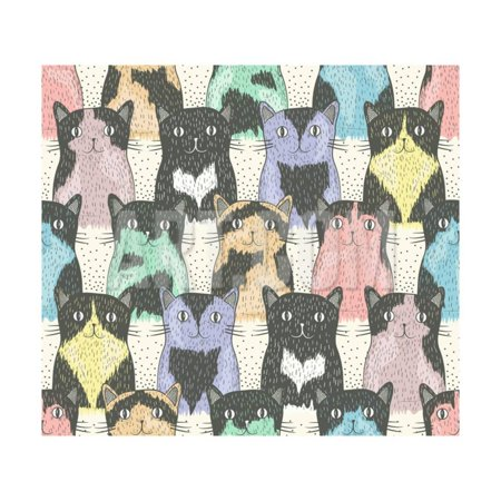 Cherry Blossom Coat (Seamless Pattern With Cute Cats For Children Print Wall Art By cherry blossom)
