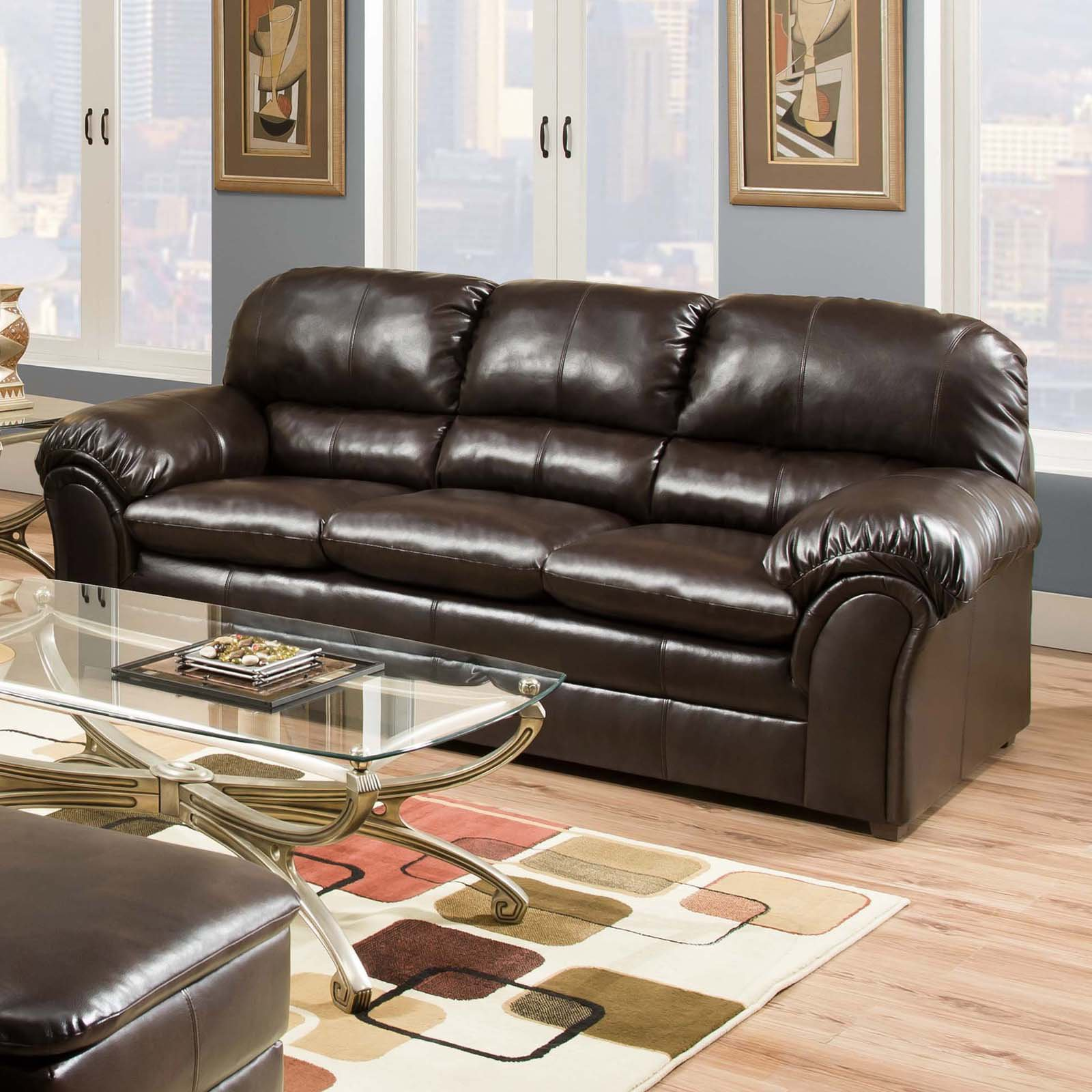 Ordinaire Simmons Upholstery Vintage Riverside Bonded Leather Sofa   Walmart.com