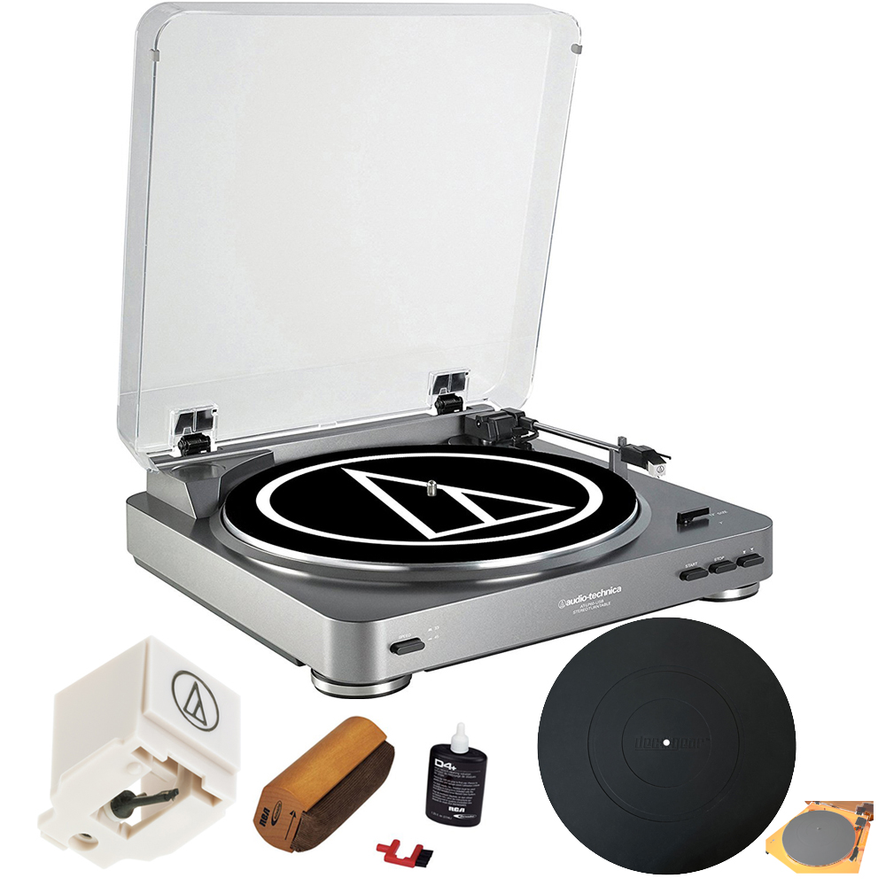 Audio-Technica AT-PL60USB USB Turntable Premium Bundle with Extra Stylus Needle + Deluxe Cleaning System+ Silicone Rubber Universal Turntable Platter Mat