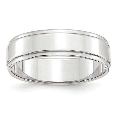 Roy Rose Jewelry 14K White Gold 6mm Flat with Step Edge Wedding Band Ring Size (White Gold Flat Edge Band)