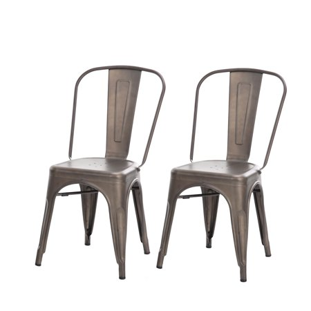 Buschman Set of Two Bronze Tolix-Style Metal Indoor/Outdoor Stackable Chairs with Back