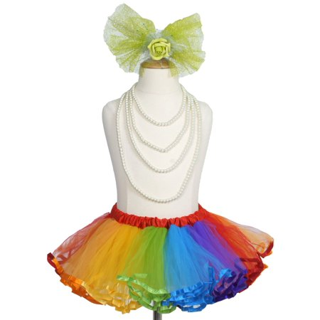 Efavormart 4 Layered Rainbow Girls Ballet Tutu Skirt for Dance Performance Events Wedding Party Banquet Event Dance - Long Tutus For Girls