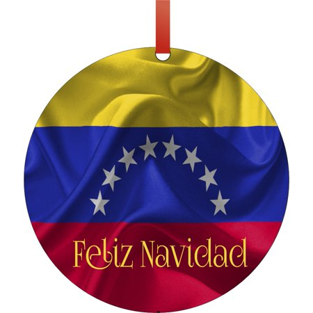 Flag Venezuela Feliz Navidad Round Shaped Flat Semigloss Aluminum Christmas Ornament Tree Decoration - Unique Modern Novelty Tree Décor Favors - Feliz Navidad Ornament