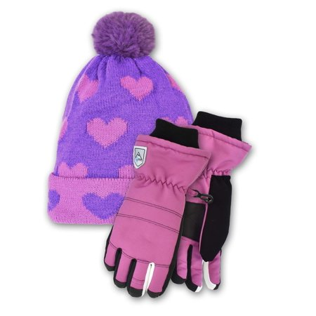 Cold Front Accessories The Kelsey Cuff Hat and the Patricia Sports Ski Glove Bundle Pink Ski Gloves