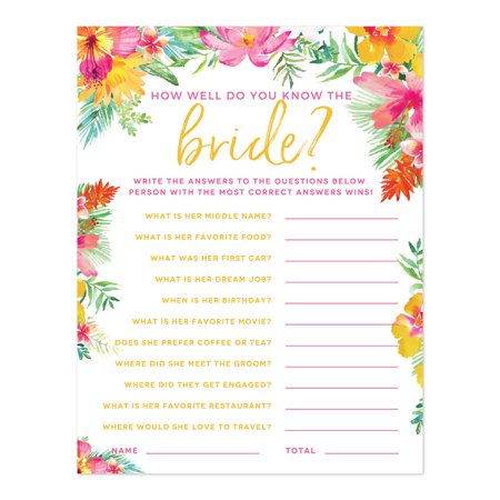 Tropical Floral Garden Party Wedding, How Well Do You Know the Bride? Bridal Shower Game Cards, 20-Pack](Wedding Shower Game)