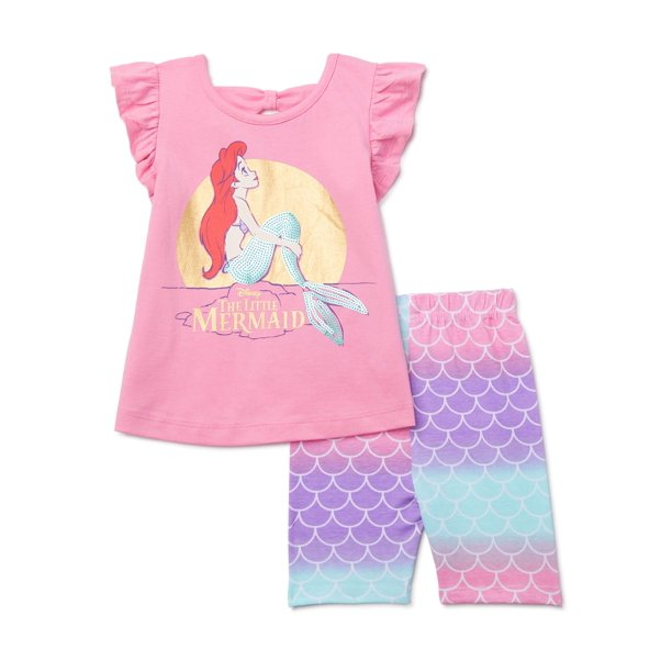 Bike Shorts 2 Piece Outfit Set, The Little Mermaid Toddler Bedding