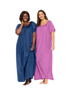 Only Necessities Plus Size 2-pack Long Silky Gown