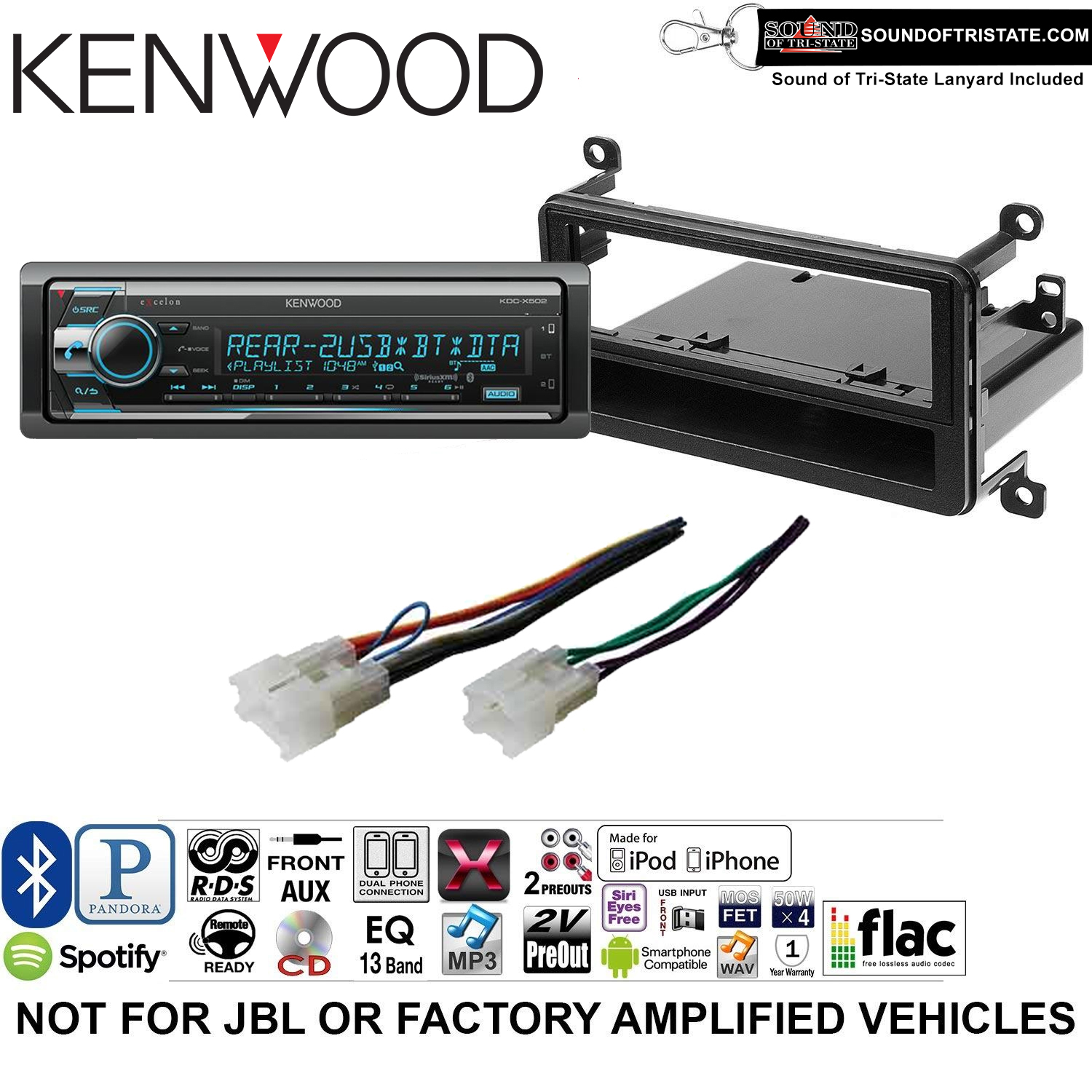 Kenwood KDCX502 Double Din Radio Install Kit with Bluetooth, CD Player, USB/AUX Fits 2001-2005 Toyota RAV4 and a SOTS lanyard included