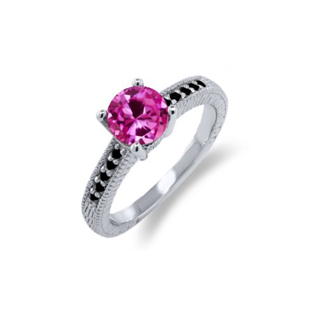 1.83 Ct Round Pink Created Sapphire Black Diamond 925 Sterling Silver Ring