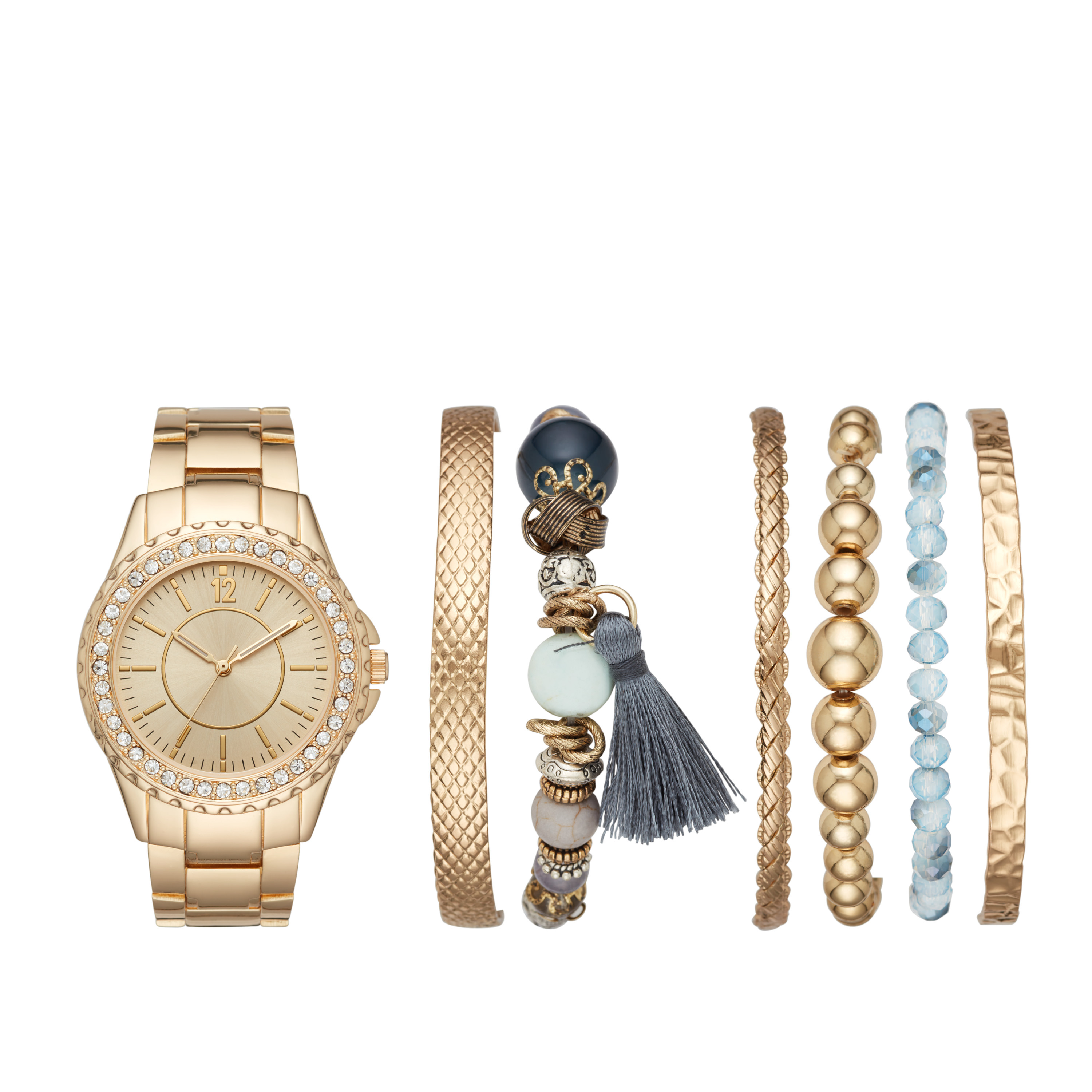 Ladies' Gold Watch and Stackable Bracelet Gift Set