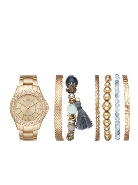 Las Gold Watch And Stackable Bracelet Gift Set