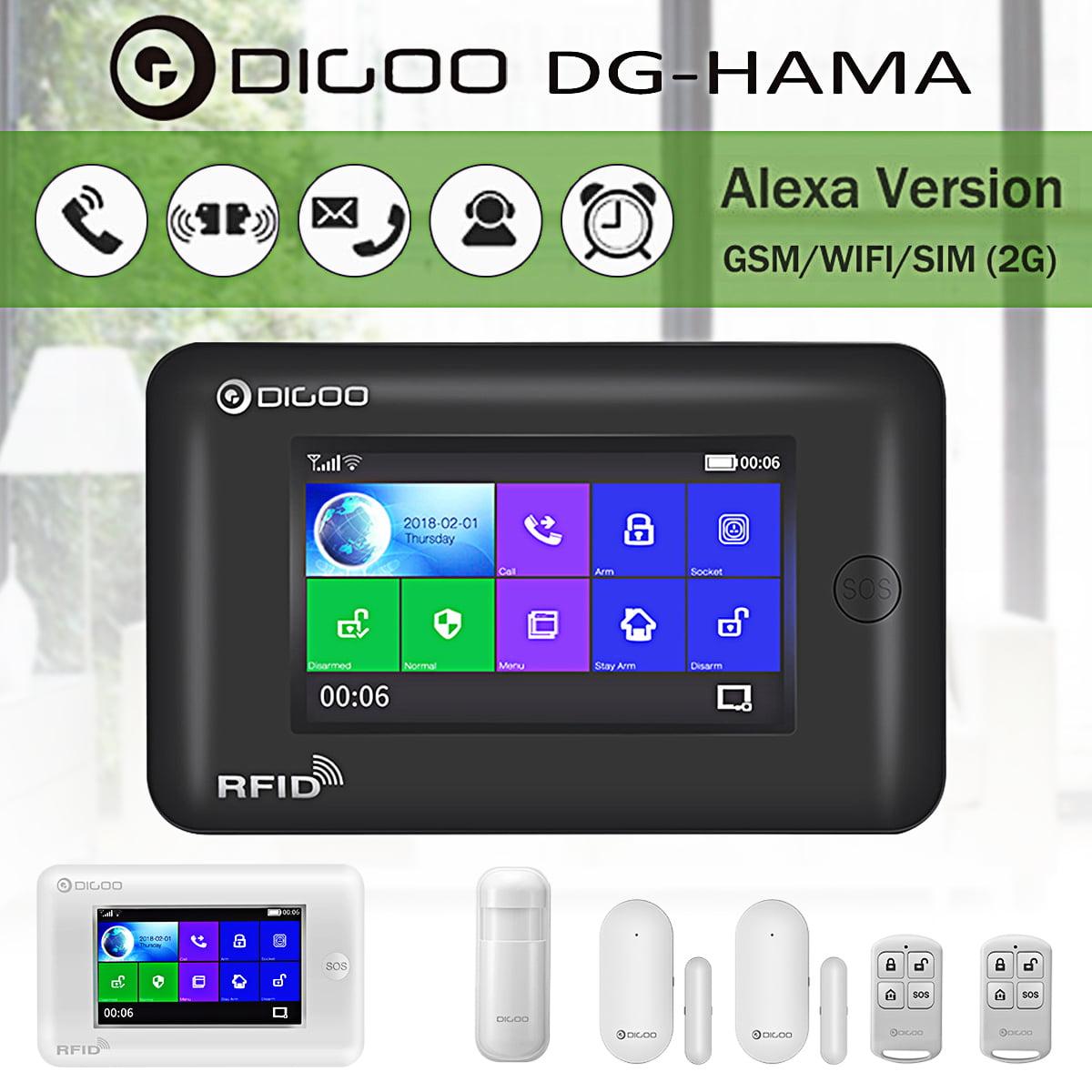 DIGOO DG-HAMA Touch Screen 433MHz GSM WIFI DIY Smart Home Burglar Security Alarm Alert System Accessories,Auto Dial Call wirelessalarmsystem SMS Message Push,Phone APP Control PIR Window Door Detector