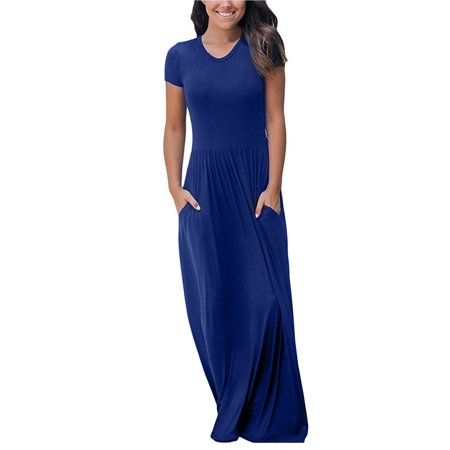 2018 Loose Long Maxi Dress Casual Plain O-Neck Short Sleeve FashionParty Boho Solid Dresses Plus Size Oversized for Woman US Size 2-4-6-8-10-12-14