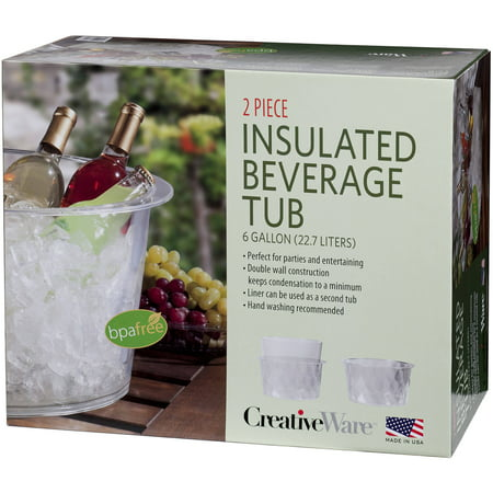 Creative Ware Clear Plastic Insulated Party Tub, 6 Gallon](Plastic Beverage Tubs)