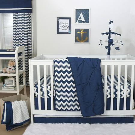 The Peanut Shell 3 Piece Baby Crib Bedding Set Navy Blue