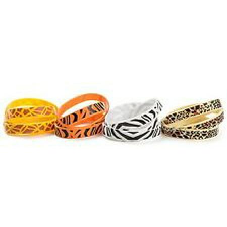 Animal Print Safari Party Favor Kids Rubber Bracelets Assorted Colors (1 dz)