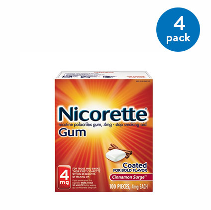 (4 Pack) Nicorette Nicotine Gum, Stop Smoking Aid, 2 mg, White Ice Mint Flavor, 100 count