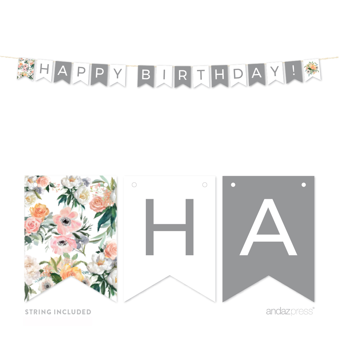 Peach Coral Floral Garden Party, 5FT Happy Birthday! Hanging Pennant Party Banner with String