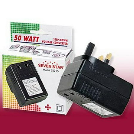 50 Watt US To UK Style Voltage Converter 220 to 110 Volt 50W to Use USA Appliances in UK, Africa, UAE, Middle East Seven Star SS215