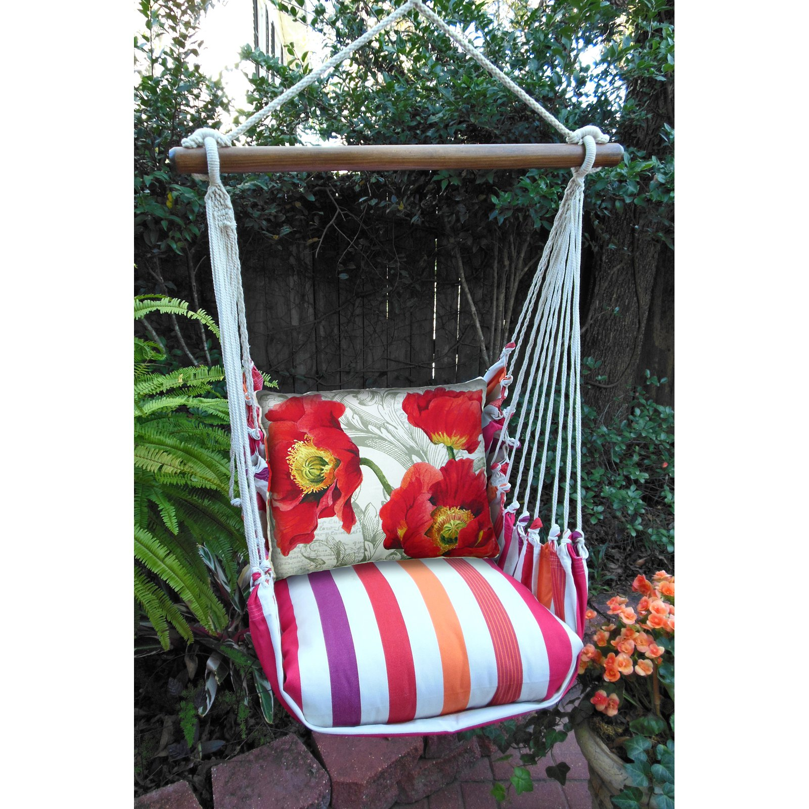 Magnolia Casual Poppies Hammock Chair & Pillow Set
