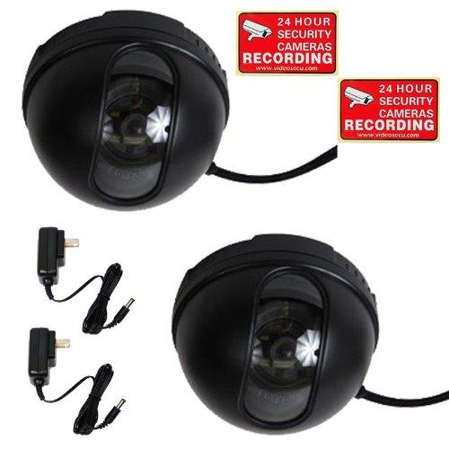 """VideoSecu 2 Pack Dome Indoor Video 1/3"""" CCD Security Camera Wide Angle View w/ 2 Power for Home Surveillance System  BAA"""