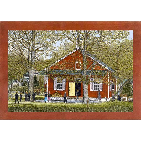 "School Days-THEWIN9591 Print 14.25""x18"" by Thelma Winter in a Affordable Canadian Walnut Medium"