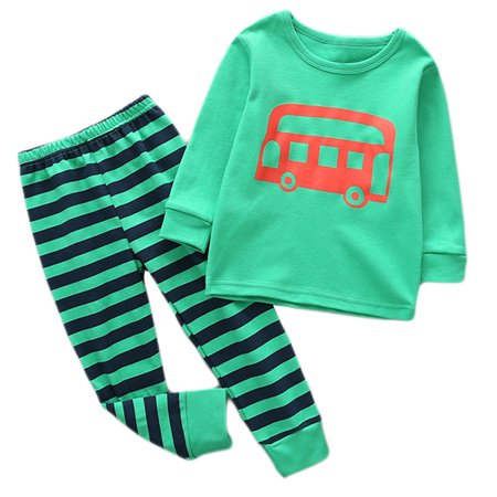 StylesILove Little Boy Cute Car Long Sleeve Cotton Top with Stripe Pants 2 pcs Outfit Set (90/2-3 Years, Green) ()
