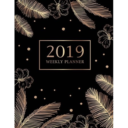 2019 Weekly Planner : Golden Feathers, 2019 Planner Weekly and Monthly & Personal Organizers, Calendar Schedule Organizer and Journal Notebook, Academic Agenda Calendar Planner (Volume -