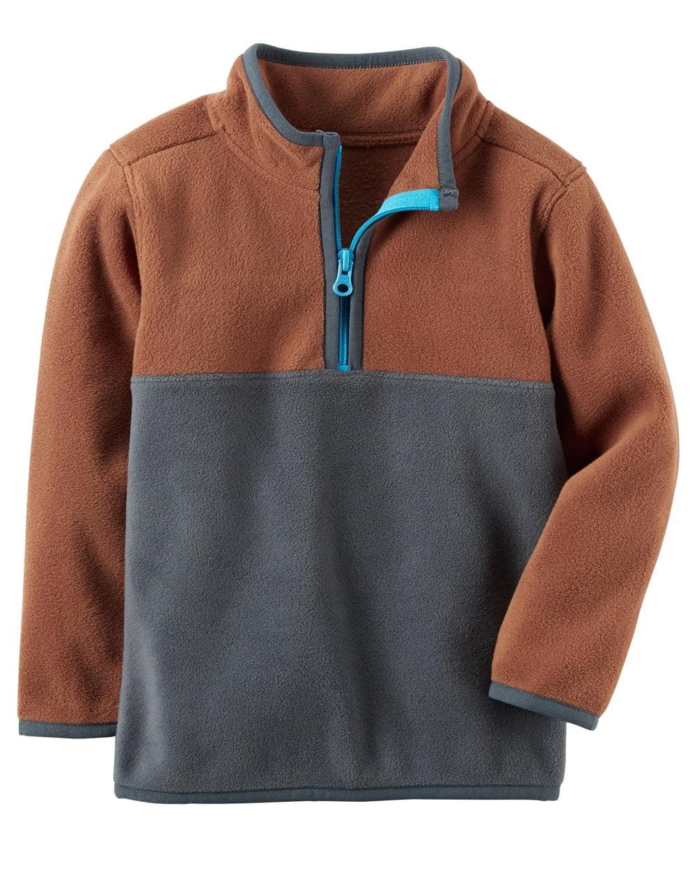 Carter's Baby Boys' Colorblock Fleece Pullover, Borwn Grey Colorblock, 3 Months