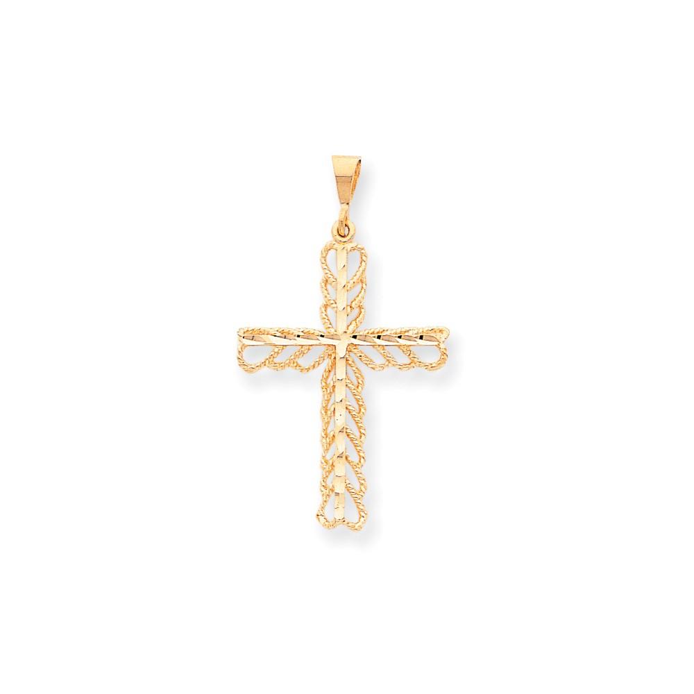 10k Yellow Gold Cross Charm (1.8in long x 1in wide)