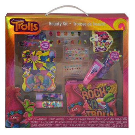 Nail Bag (Trolls Cosmetic Set Included Nail Gems, Lip Glosses, Lip Blam, Stickers, Coin Purse & Nail Stickers )