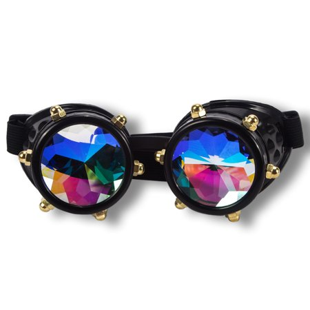 C.F.GOGGLE Retro New Colored Diamond Lens Steampunk goggles Psychedelic Laser Kaleidoscope Glasses Cosplay Rainbow Crystal Glass Lens (Colored Cosplay Contact Lenses)