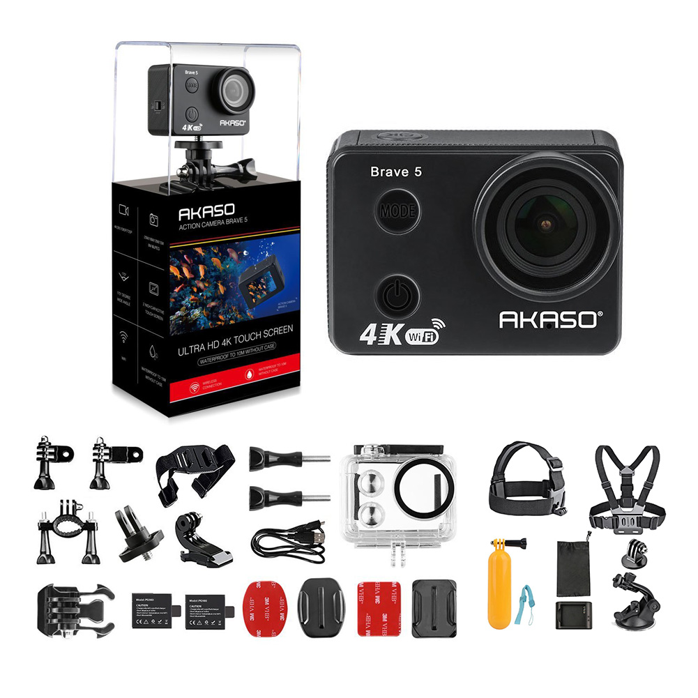AKASO Brave 5 4K 20MP Wifi Action Camera Ultra HD 10M Underwater Waterproof Action Camera 170 Degree Wide Angle Sports Camcorder + 7 in 1 Camera Accessories & 1 Year Extended Warranty