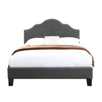 Emerald Home Madison Charcoal Gray Upholstered Bed with Platform Style Base And Nailhead Trim, King