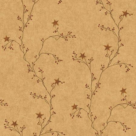 Country Keepsakes Star Berry Vine (Orange Geometric Wallpaper)