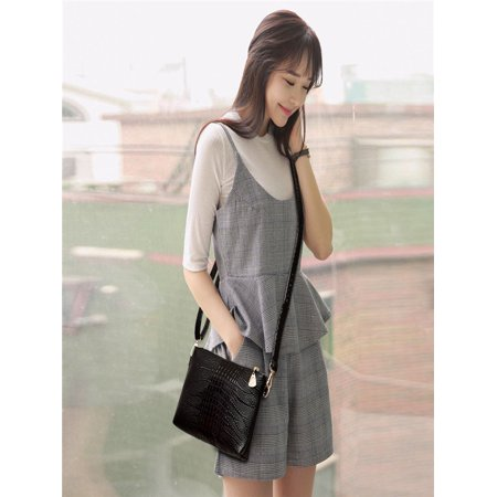 Women Fashion Handbag Crocodile Pattern Shoulder Bag Small Tote Ladies Purse