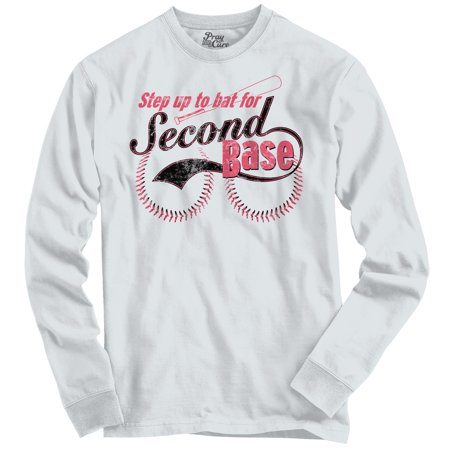 Breast Cancer Awareness Second Base Boobs Humor Long Sleeve T-Shirt by Pray For A