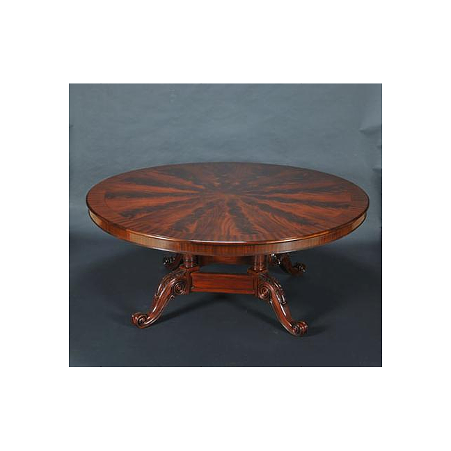 6Ft Round Flame Mahogany   Satinwood Pedestal Dining Table w  Scrolls by Three Dog Circus