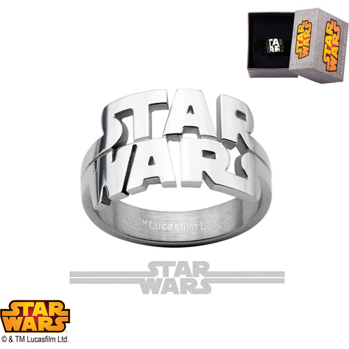 Disney Stainless Steel Star Wars Cutout Logo Ring