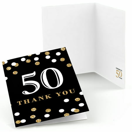 Adult 50th Birthday - Gold - Birthday Party Thank You Cards (8 count)](Halloween Party Thank You Quotes)