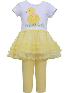 Bonnie Jean Little Girl 2T-6X Yellow White Baby Chick Tutu Dress Legging Set [BNJ04518]